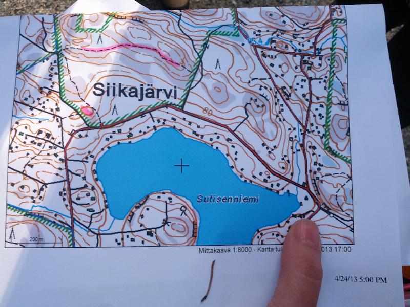 Ensimmäinen tehtävä kartalla.